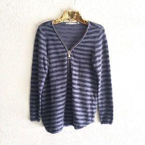 Soft Surroundings Latitia Blue Striped Zip Tunic